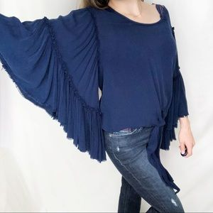 Band of Gypsies Flowy Bell Sleeve Boho Tie Front